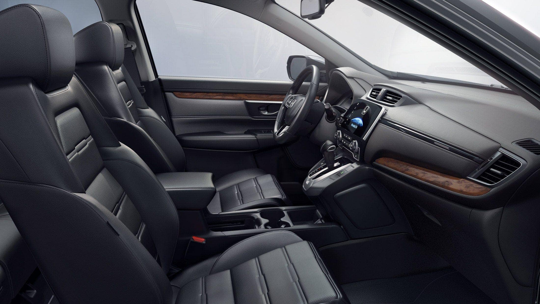 Full interior shot of the 2019 Honda CR-V with leather-trimmed interior.
