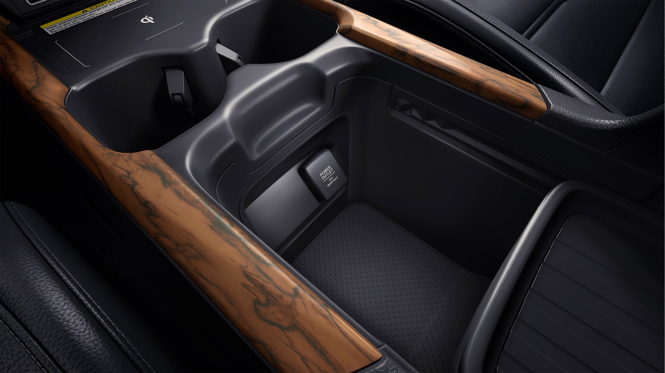 Customizable center console storage detail in the 2020 Honda CR-V with Gray Leather interior.