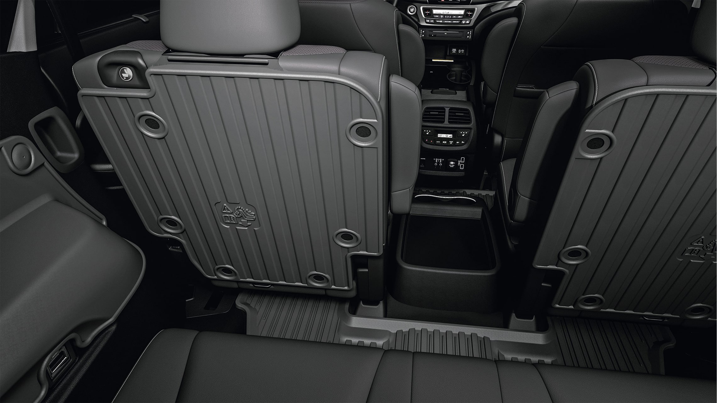 2nd-Row seatback protector detail in 2021 Honda Pilot with Gray Leather interior
